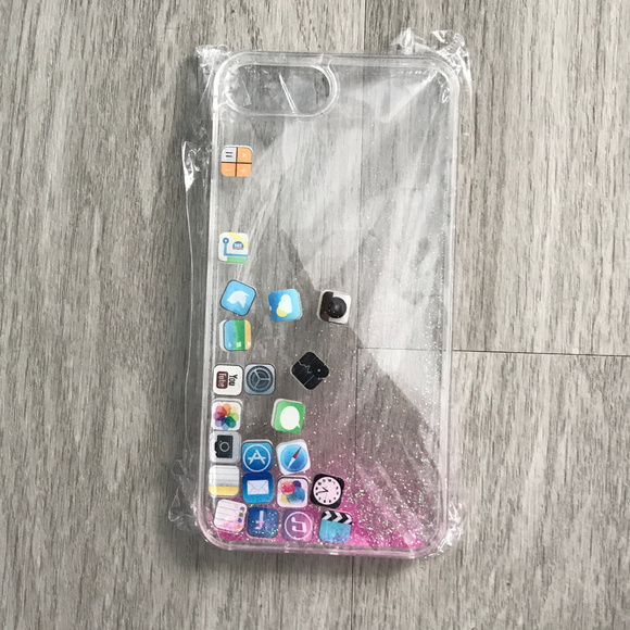 Waterfall Glitter iphone 7/8 Plus App Icons Case Boutique